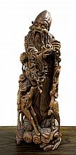 Chinese Wood Shoulao Figure