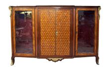 Antique Marble Top French Cross Band Show Cabinet