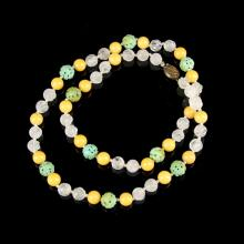 Chinese Carved Turquoise Crystal and Jade Necklace