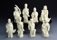 Set of Eight Chinese Blanc de Chine Figures