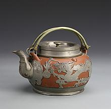 Chinese Yixing Teapot with Metal Work
