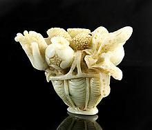 Chinese Jade Floral Basket