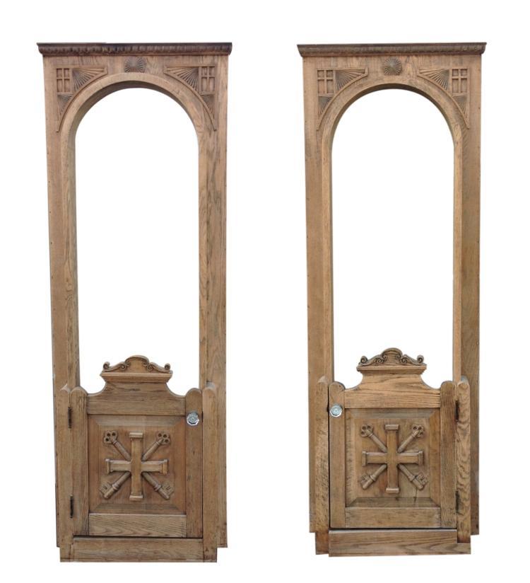 Lot 492 American Gothic Revival Oak Doors