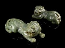 Two Chinese Jade Foo Lions