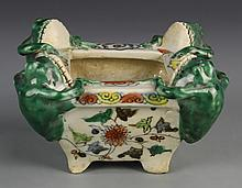 Chinese Wucai Glazed Brush Pot