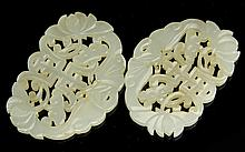 Pair of Carved Chinese Jade Plaques