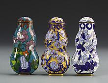 Three Chinese Cloisonne Snuff Bottles
