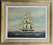 Framed Oil on Canvas of a Clipper, Signed T. Baily
