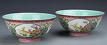 Chinese Pair of Famille Rose Bowls