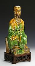 Chinese Green Glazed Wiseman Figure