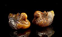 Pair of Chinese Agate Ducks