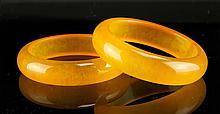 Two Chinese Yellow Jade Bangles