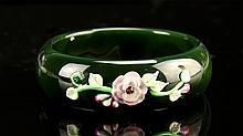 Chinese Carved Hetian Jadeite Bangle