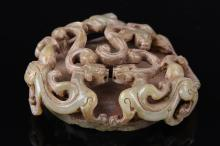 Chinese Antique Jade Pi and Dragons