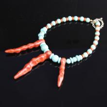 Chinese Turquoise and Coral Necklace