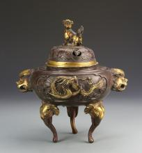 Chinese Bronze Covered Incense Burner