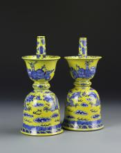 Pair of Chinese Blue and White Dragon Candlesticks