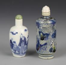 Two Chinese Blue and White Snuff Bottle