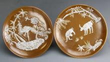 Pair of Chinese Bronze Glazed Plates