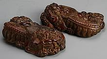 Chinese Pair of Carved Wood Foo Lions