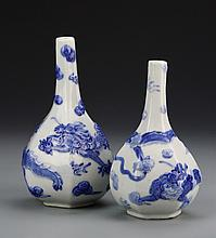 Two Japanese Blue and White Vase
