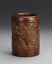 Chinese Box Wood Brush Pot