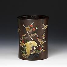 Chinese Zitan Brush Pot with Inlays