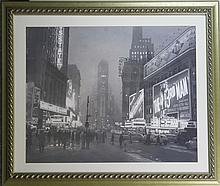 Silver Framed Photograph of Times Square, NYC 1949