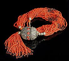 Chinese Beaded Coral Necklace