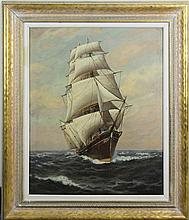 Oil on Canvas of a Clipper Ship, Signed T. Baily