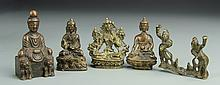 Five Chinese Miniature Bronze Buddhist Figures