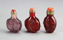 Three Chinese Peking Glass Snuff Bottles