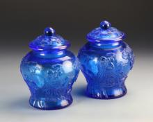 Pair of Chinese Peking Glass Jars