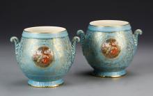 Pair of M & R Hand-Painted Jars