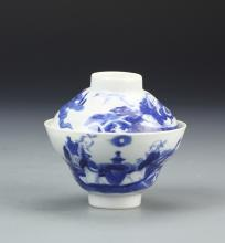 Chinese Blue and White Tea Bowl with Cover