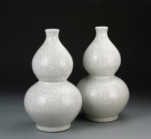 Pair of Chinese Ge Yao Vases
