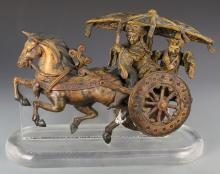 Chinese Sancai Pottery Horse-Drawn Warrior Cart