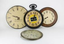 Four Clock Faces. Largest Measures 15-1/2 Inches Diameter. The Gallery does Not warranty the running condition of Clocks or the Parts. Please Examine All Clocks Carefully Before Bidding or ask for Specific Photos. Shipping $40.00