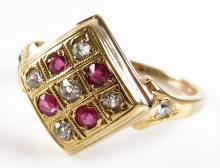 18 Karat Yellow Gold, Diamond and Ruby Squared Top Ring, Size 8-1/2. Unsigned. Good Condition. Weighs 3.40 Pennyweights. Shipping $20.00