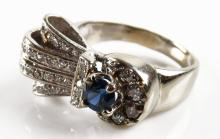 Art Deco Style 14 Karat White Gold, Diamond and Sapphire Ring, Size 6-1/2. Unsigned. Good Condition. Weighs 3.90 Pennyweights. Shipping $20.00