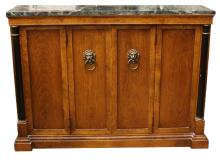 Modern Wooden Entrance Way Console Cabinet with Marble Top. Unsigned. Outside Good Condition but Inside Lifting, Separation. Please Examine This Item Carefully Before Bidding, We are Selling it in