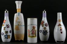 Lot of Five (5) Miscellaneous Porcelain Kitchen Items. Signed. Condition Varies. Please Examine This Lot Carefully Before Bidding. Tallest Measures 13-1/2 Inches Tall. Shipping $65.00