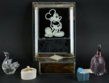 Miscellaneous Box Lot. Includes Mickey Mouse Picture Frame, Glass Box, and Glass Swan Figure. Unsigned. Good Condition. Shipping $60.00
