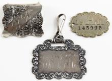 Three (3) Sterling Silver Tags with Initials, One (1) is a Clip. Each Signed. Good Condition. Weighs 0.88 Troy Ounces. Widest Measures almost 1-3/4 Inches. Shipping $20.00