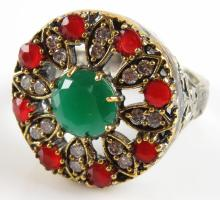 Sterling Silver, Bronze, White Topaz, Ruby and Emerald Ring, Size 7-3/4.Signed. Good Condition. Weighs 5.30 Pennyweights. Shipping $20.00