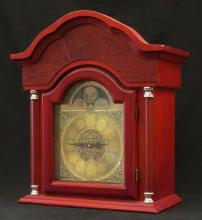 Musical Cherry Wood Daniel Dakota Grandfather Clock Top with Working Chimes. Signed. Some Wood Chipping to Top Of Clock Otherwise Good Condition. Measures 23-1/2 Inches Tall and 20-1/2 Inches Long. We Will Not Ship This Item In-House Due To Its Size, But