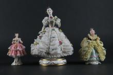 Three (3) Dresden Germany Lace Porcelain Figures. Each Signed. Good Condition, Minor Losses. Tallest Measures 6-3/4 Inches. Shipping $25.00