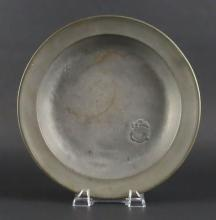 18th Century Samuel Danforth American Pewter Plate. Signed with Samuel Danforth Stamp. Has an Old Repair or else Good Condition. Measures 11-1/8 Inches Diameter. Shipping $22.00