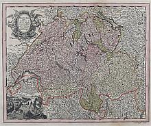 18th Century Johann Christoph Weigel (1654-1725/1726) Nurnberg, Germany Copperplate Engraving and Hand Painted Watercolor Map