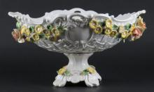 Capodimonte Porcelain Pierced Centerbowl. Signed. Good Condition. Measures 7-1/4 Inches Tall and 13 Inches Long. Shipping $50.00